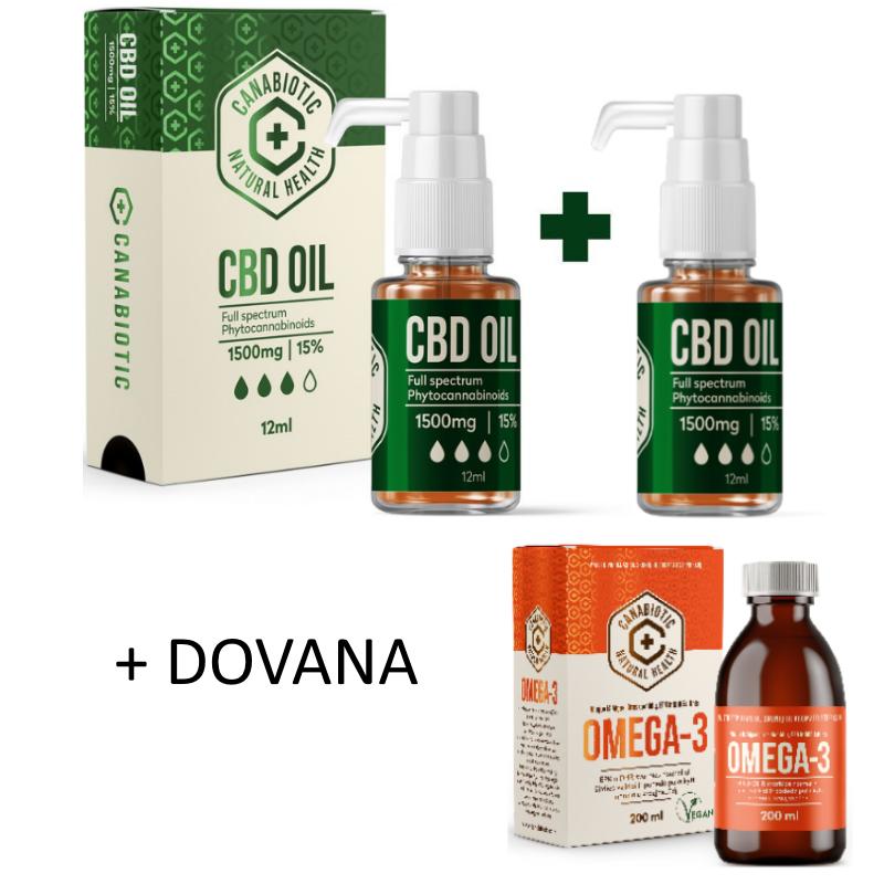 Kanapių CBD aliejus Canabiotic CBD OIL 1500 mg 2 VNT. rinkinys + DOVANA Canabiotic Omega 3