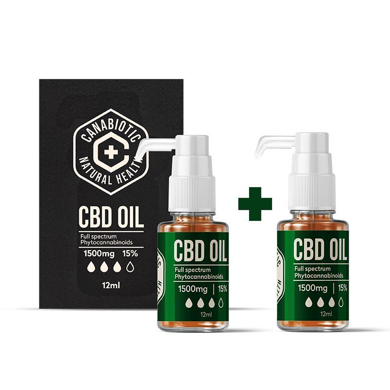 Kanapių CBD aliejus Canabiotic CBD OIL 1500 mg (15%) 2 VNT. rinkinys