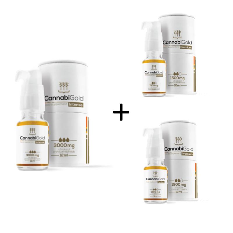 CBD Hemp Oil CannabiGold Intense 3000mg (30%) 1 piece + CannabiGold Premium 1500 mg 2 pieces set