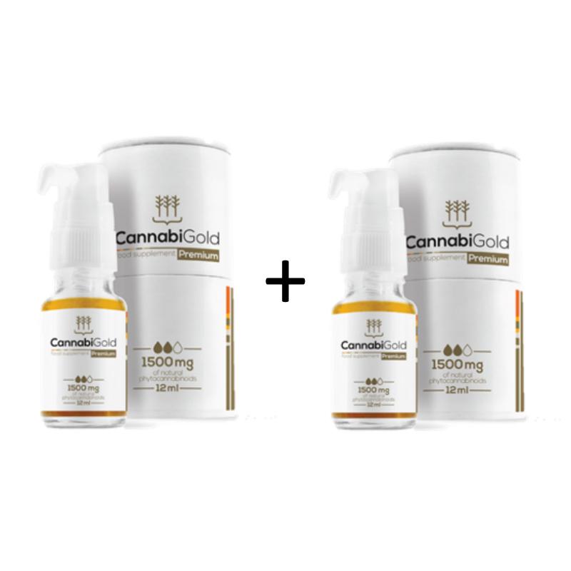 Kanapių CBD Aliejaus CannabiGold Premium 1500 mg 2 VNT. rinkinys