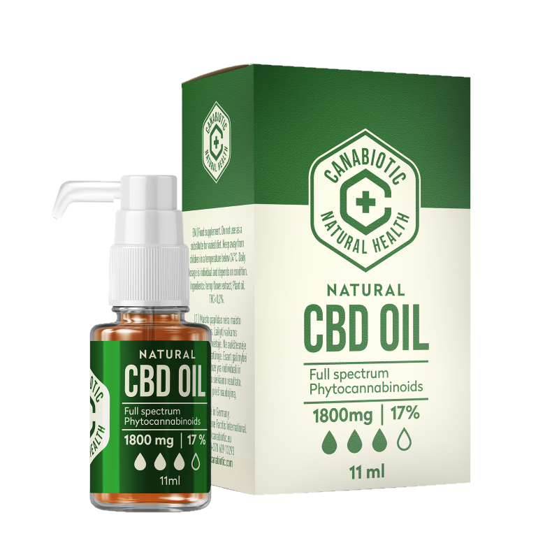 Kanapių CBD aliejus Canabiotic CBD OIL 1800 mg (17%)