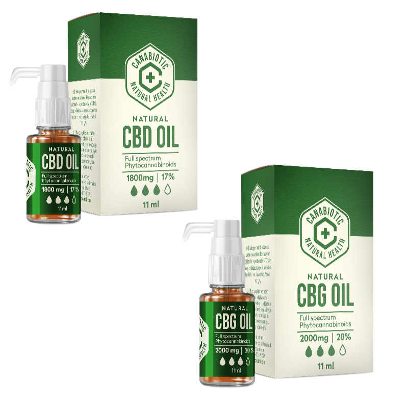 RINKINYS: Kanapių CBD aliejus Canabiotic CBD OIL 1800 mg (17%) ir Canabiotic CBG OIL 2000 mg (20%)