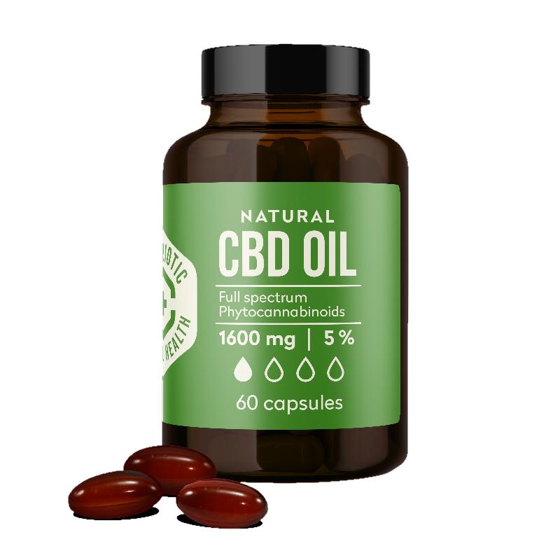 Kanapių CBD aliejus kapsulėse Canabiotic CBD OIL capsules 60 kapsulių 1600 mg